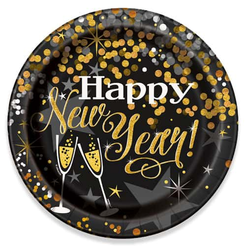 Glittering New Year Round Paper Plate 22cm Bundle Product Image