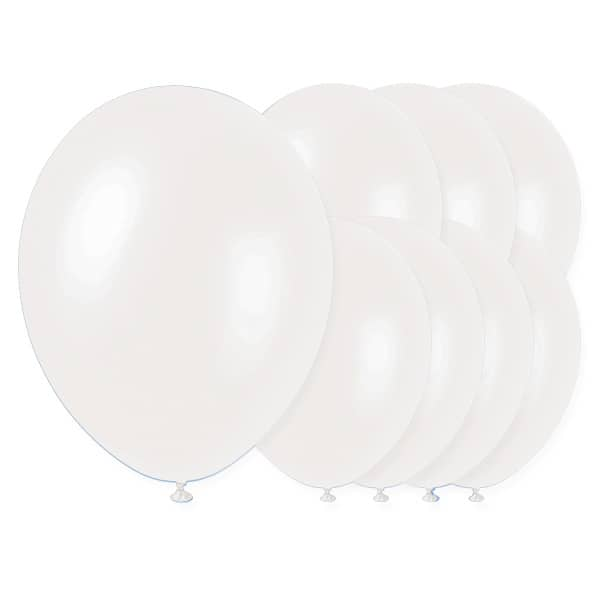 Iridescent White Biodegradable Latex Balloons - 12 Inches / 30cm - Pack of 8