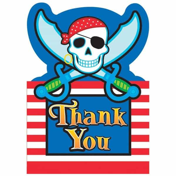 Pirate Party Thank You Cards with Envelopes - Pack of 8