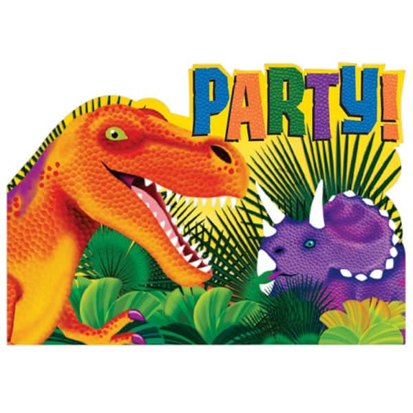 Prehistoric Party Invitations with Envelopes - Pack of 8