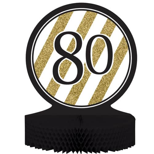 80 Black And Gold Honeycomb Centrepiece - 30cm Product Image