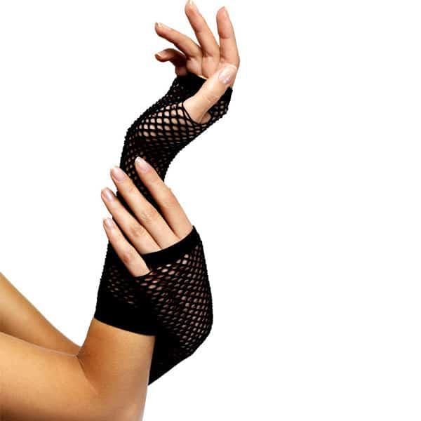 80's Style Black Long Fishnet Fancy Dress Gloves Product Image