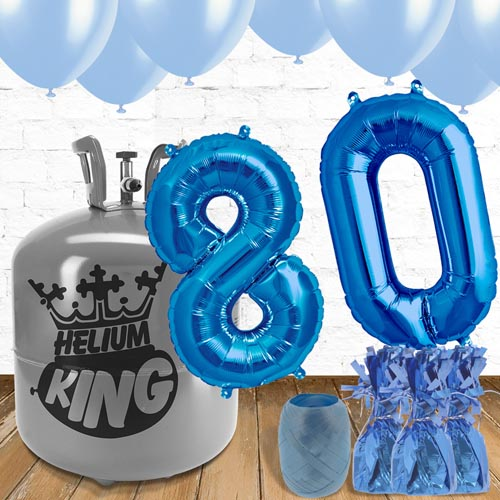 80th Birthday Helium Gas Package with Blue Balloons Product Image