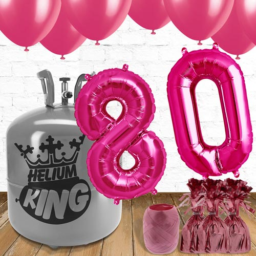 80th Birthday Helium Gas Package with Pink Balloons Product Image