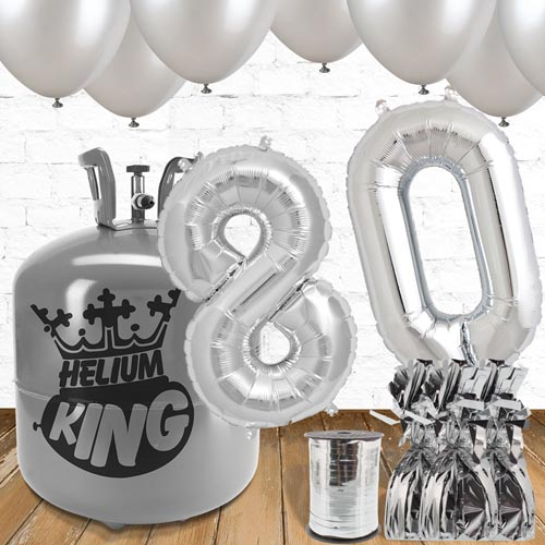 80th Birthday Helium Gas Package with Silver Balloons Product Image