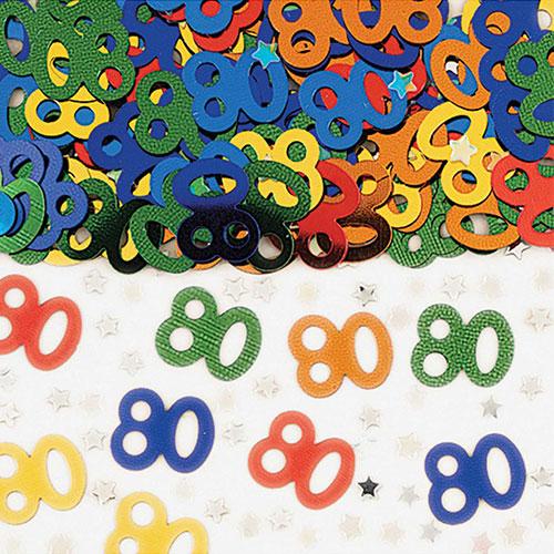 80th Birthday Assorted Metallic Table Confetti 14 Grams