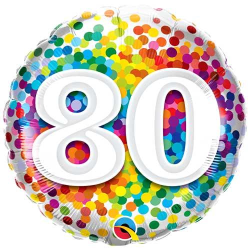 80th Birthday Rainbow Confetti Round Foil Helium Qualatex Balloon 46cm / 18 in