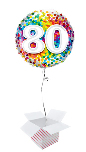 80th Birthday Rainbow Confetti Round Foil Helium Qualatex Balloon - Inflated Balloon in a Box