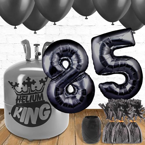 85th Birthday Helium Gas Package with Black Balloons Product Image