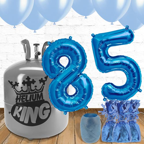 85th Birthday Helium Gas Package with Blue Balloons Product Image