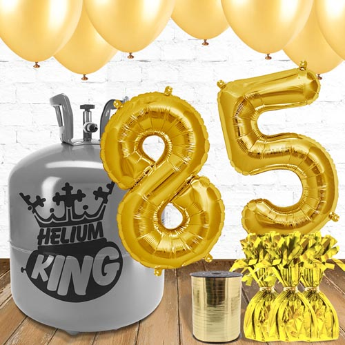 85th Birthday Helium Gas Package with Gold Balloons Product Image