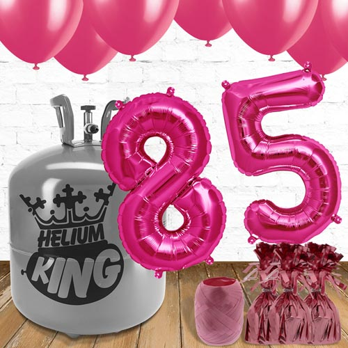 85th Birthday Helium Gas Package with Pink Balloons Product Image