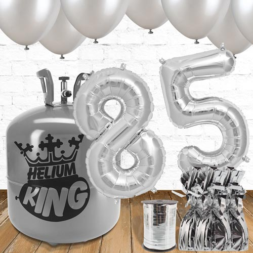 85th Birthday Helium Gas Package with Silver Balloons Product Image