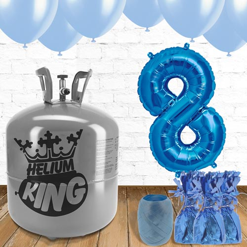 8th Birthday Helium Gas Package with Blue Balloons Product Image