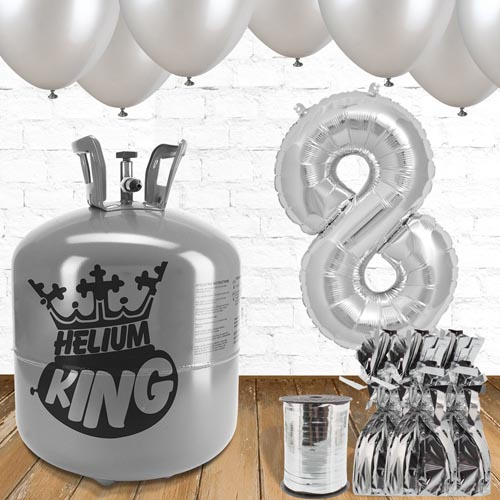 8th Birthday Helium Gas Package with Silver Balloons Product Image