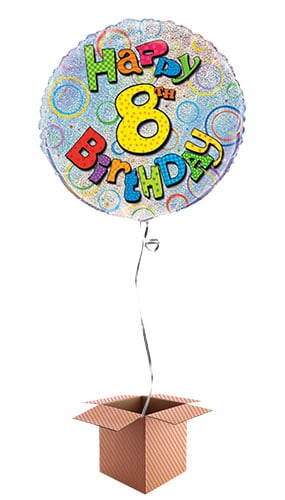 Happy 8th Birthday Holographic Round Foil Balloon - Inflated Balloon in a Box