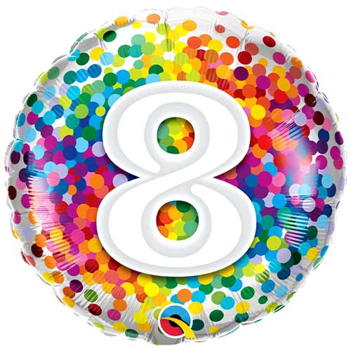 8th Birthday Rainbow Confetti Round Foil Helium Qualatex Balloon 46cm / 18 in Product Image