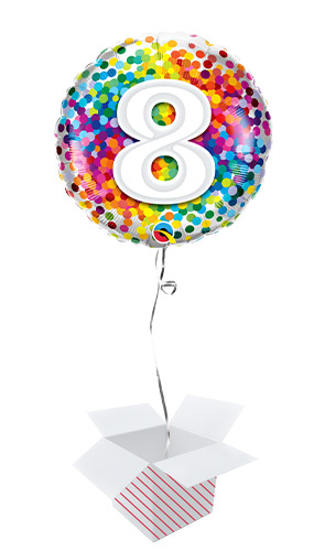 8th Birthday Rainbow Confetti Round Foil Helium Qualatex Balloon - Inflated Balloon in a Box