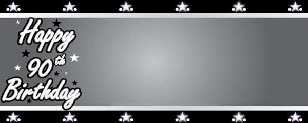 Happy 90th Birthday Silver Stars Design Small Personalised Banner- 4ft x 2ft
