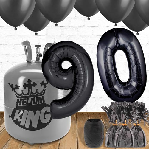 90th Birthday Helium Gas Package with Black Balloons Product Image