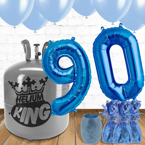 90th Birthday Helium Gas Package with Blue Balloons Product Image