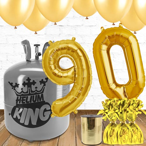 90th Birthday Helium Gas Package with Gold Balloons Product Image