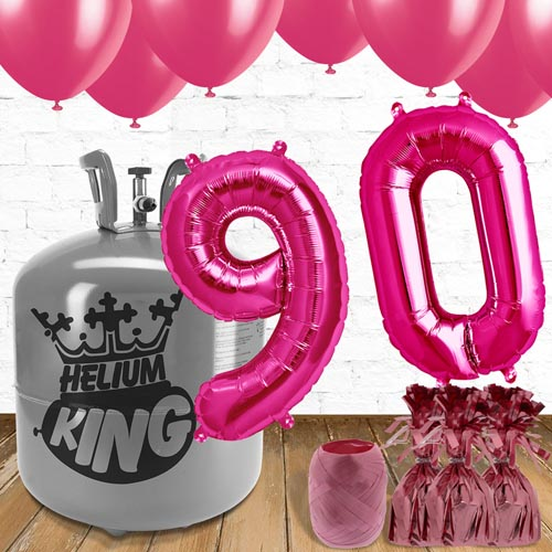 90th Birthday Helium Gas Package with Pink Balloons Product Image