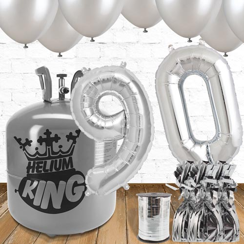90th Birthday Helium Gas Package with Silver Balloons Product Image