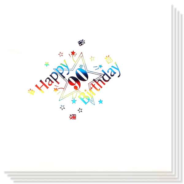 90th Birthday multi Coloured Foil Print 3 Ply Napkins - 13 Inches / 33cm - Pack of 15