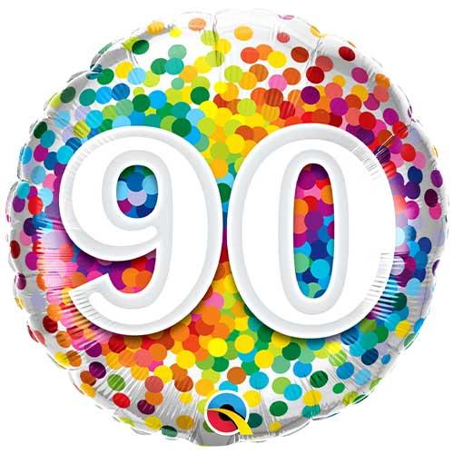 90th Birthday Rainbow Confetti Round Foil Helium Qualatex Balloon 46cm / 18 in Product Image