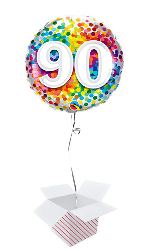 90th Birthday Rainbow Confetti Round Foil Helium Qualatex Balloon - Inflated Balloon in a Box