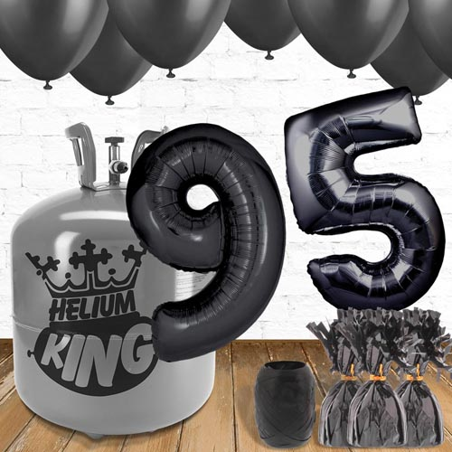 95th Birthday Helium Gas Package with Black Balloons Product Image