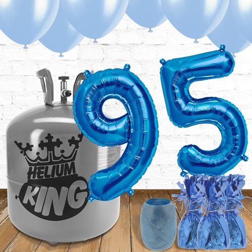 95th Birthday Helium Gas Package with Blue Balloons Product Image