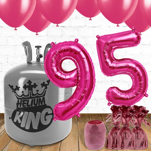 95th Birthday Helium Gas Package with Pink Balloons Product Image