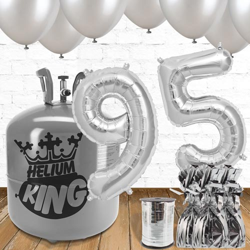 95th Birthday Helium Gas Package with Silver Balloons Product Image
