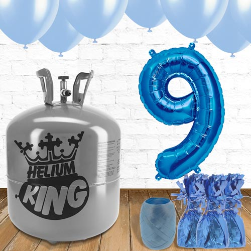 9th Birthday Helium Gas Package with Blue Balloons Product Image