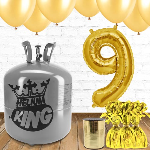 9th Birthday Helium Gas Package with Gold Balloons Product Image