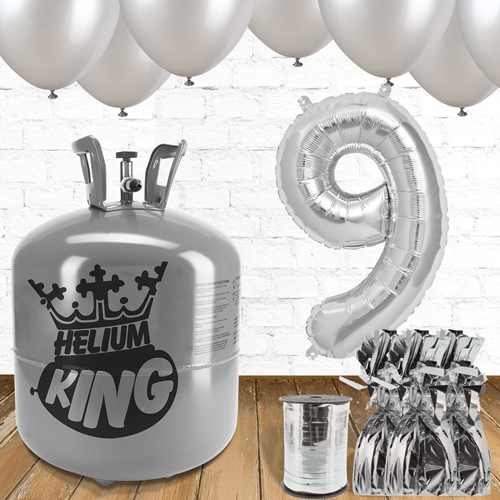 9th Birthday Helium Gas Package with Silver Balloons Product Image