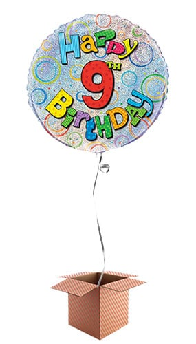 Happy 9th Birthday Holographic Round Foil Balloon - Inflated Balloon in a Box Product Image
