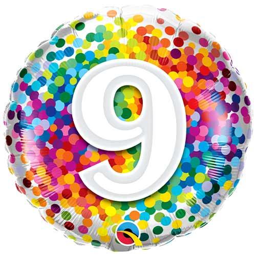 9th Birthday Rainbow Confetti Round Foil Helium Qualatex Balloon 46cm / 18 in