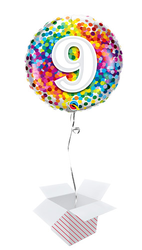 9th Birthday Rainbow Confetti Round Foil Helium Qualatex Balloon - Inflated Balloon in a Box