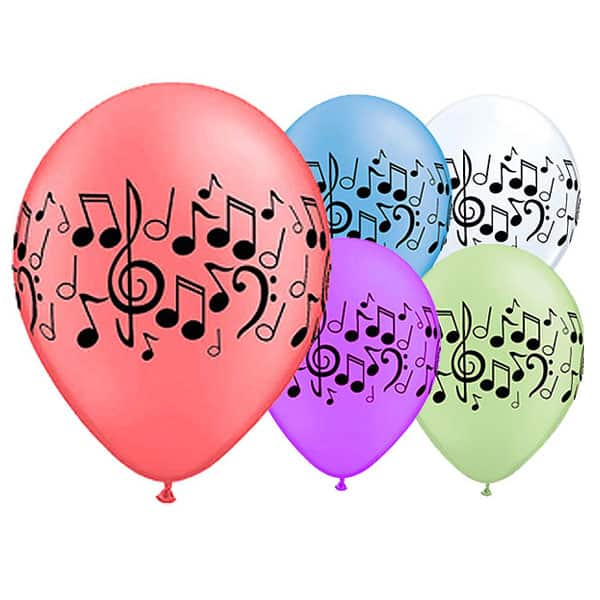 Assorted Neon Music Notes Latex Qualatex Balloon - 11 Inches / 28cm