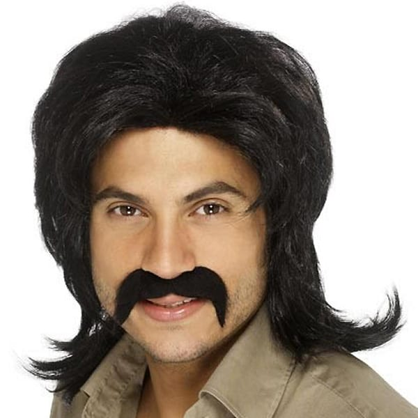 Black 70's Bee Gee Mens Long Wig Product Image