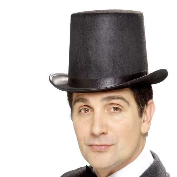 Black Felt Stovepipe Topper Hat Product Image