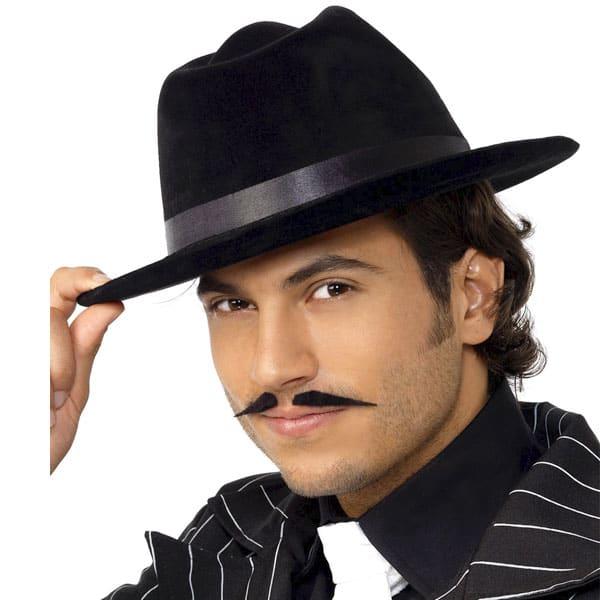 Black Flock Gangster Hat