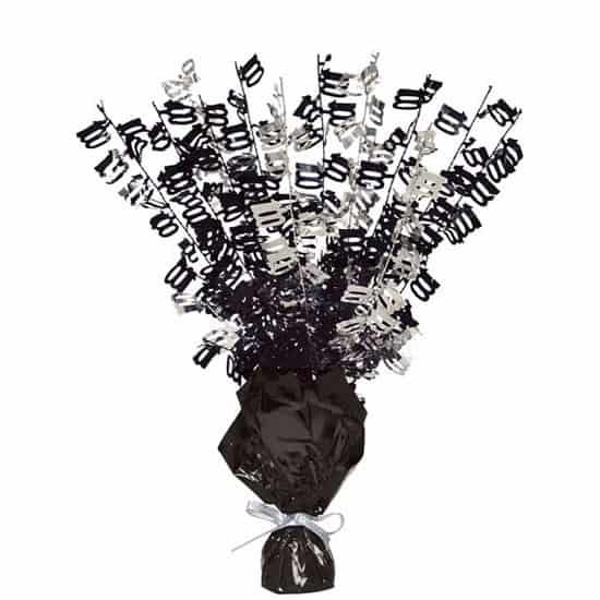 Black Glitz 100th Birthday Balloon Weight Centrepiece