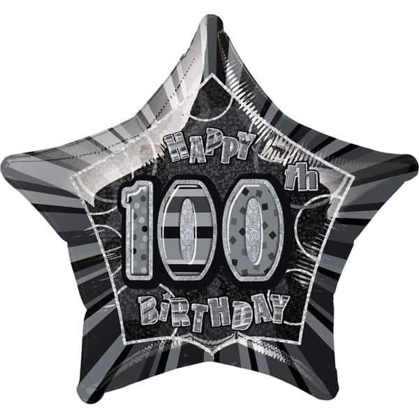 Black Glitz Age 100 Happy Birthday Prismatic Foil Helium Balloon 51cm / 20Inch