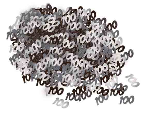 Black Glitz 100th Birthday Table Confetti - 14 Grams