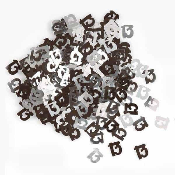 Black Glitz 13th Birthday Table Confetti - 14 Grams