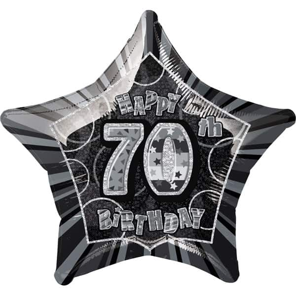 Black Glitz Age 70 Happy Birthday Prismatic Foil Helium Balloon 51cm / 20Inch Product Image